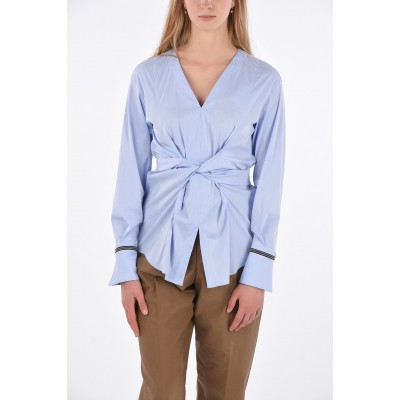Brunello Cucinelli Womens Blouse with Back Bow Closure and Jewel Cuffs 55NDC867