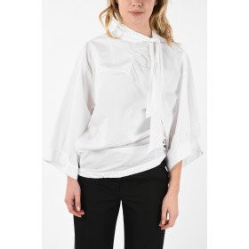Maison Margiela MM0 Tie Neck Blouse With Long Bell Sleeve In Store S2W4DL3Q