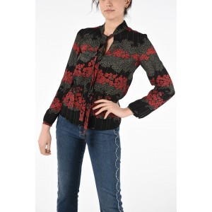 Red Valentino Silk Floral Print Blouse with Bow NJPI53QQ