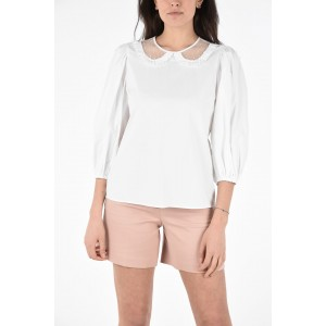 Red Valentino Womens Stretch Cotton Blouse with Tulle Polka Dot Collar Number 1 Selling JEPVRY10