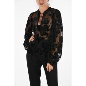 Saint Laurent Embroidered Blouse with Tassels On Line BFDIYVFZ
