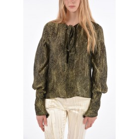 Saint Laurent Tie Neck Blouse with Lurex Floral Embroidery in new look J00HA8ZR