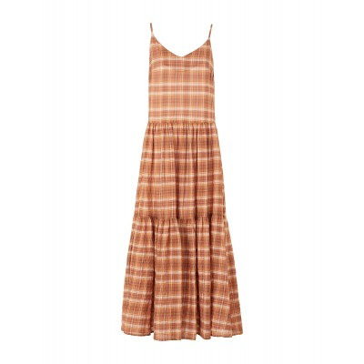 8 by YOOX Womens COTTON CHECK FLOUNCE LOOSE-FIT LONG DRESS Brick red 15112523UO
