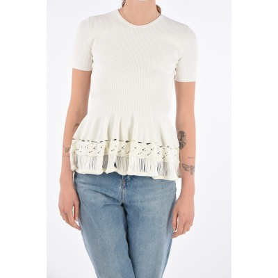 Alexander McQueen Womens Ribbed top with crochet Details outfits OSH13HYW