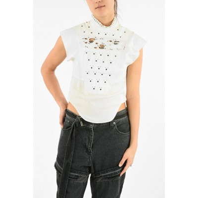 Chloe Sleeveless Embroidered Top with Studs Applications QNVPGIY2