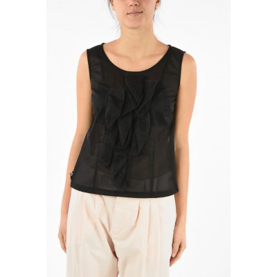 Comme Des Garçons Women's Tulle Sleeveless Top with Back Zip Closure outfits SCBZW999