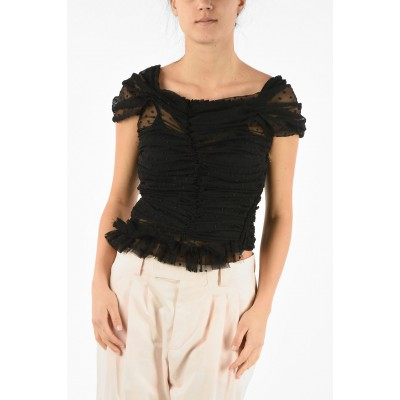 Comme Des Garçons Womens Tulle Sleeveless Top with Zip Closure L423S7WZ