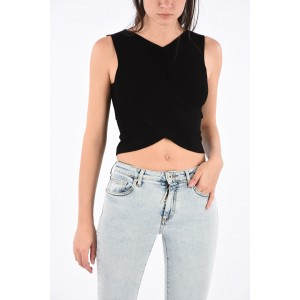 Off-White Ribbed Wrap Crop Top XWMU4TYT