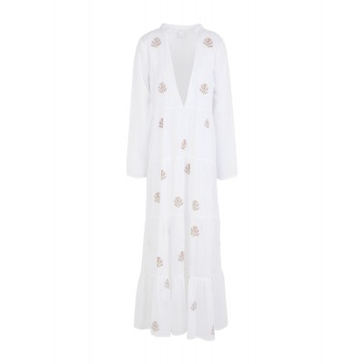 8 by YOOX Womens ORGANIC COTTON EMBROIDERED COVER-UP White 15110482NL