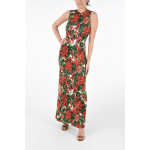 Dolce & Gabbana Womens Sleeveless Floral Floor Dress with Zip Closure VY5CA5A3