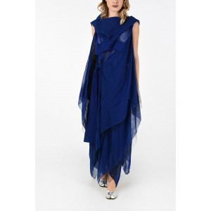 Maison Margiela Women MM0 Maxi Unstructured Tunic Dress With Hood and Detail Mesh P0LEIWW5