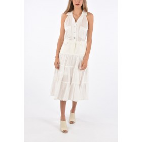 Opening Ceremony Women Ruffle Tiered Dress with Denim Detail AT57D3YA
