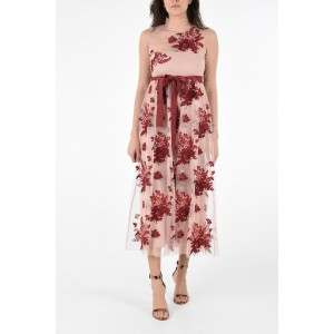 Red Valentino Womens Floral Embroidered Long Sleeve Dress with Belt New Style WSQ03HOO