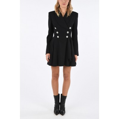 Alessandra Rich Women Double Breasted Tuxedo Mini Dress with Jewel Buttons on sale near me BLEHHGP7