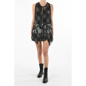 Diesel Women half zip plaid micro D-DELFY-B dress with lace-up details Collection MROX6CLX