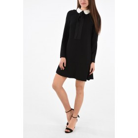 Red Valentino Long Sleeve Mini Dress with Bow Neck LWHTCWA3