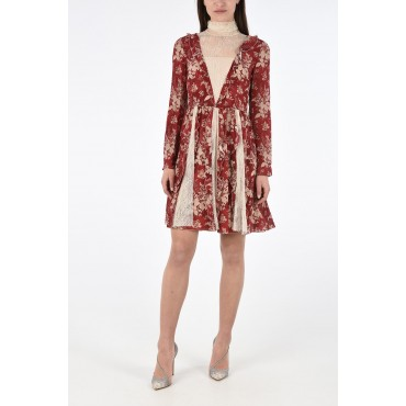 Red Valentino Silk Floral Mini Flared Dress with Lace Inserts boutique SQL5KCTZ