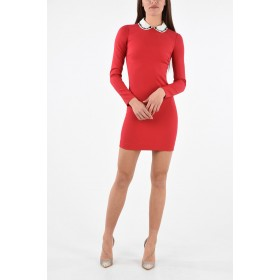 Red Valentino Women Long Sleeve Mini Dress with Sequin Embroidered Collar high quality GGTQ1738