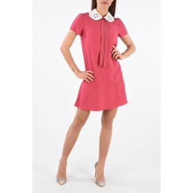 Red Valentino Women's Short Sleeve Embroidered Neck Mini Dress with Bow the best 5N57Q9QD