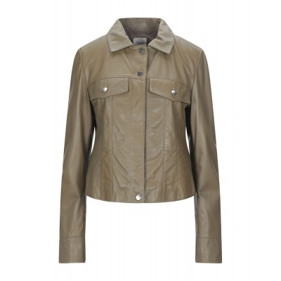 ALYSI Womens Leather jacket Military green 41993894AG