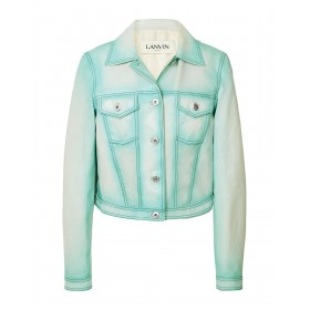 LANVIN Womens Leather jacket Sky blue for sale 16014715RB