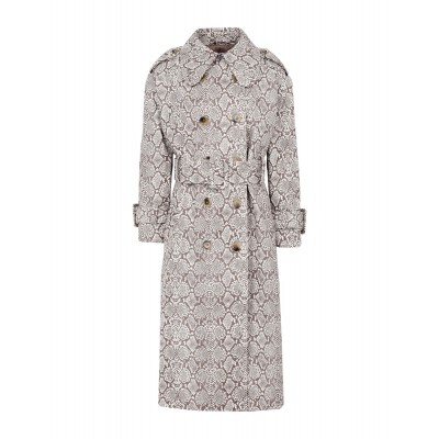 ALEXACHUNG Womens CLASSIC TRENCH COAT FAUX SNAKESKIN Brown quality 41919909GG